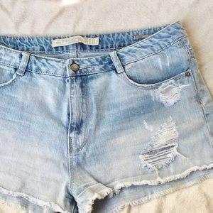 Zara Ripped Denim Shorts